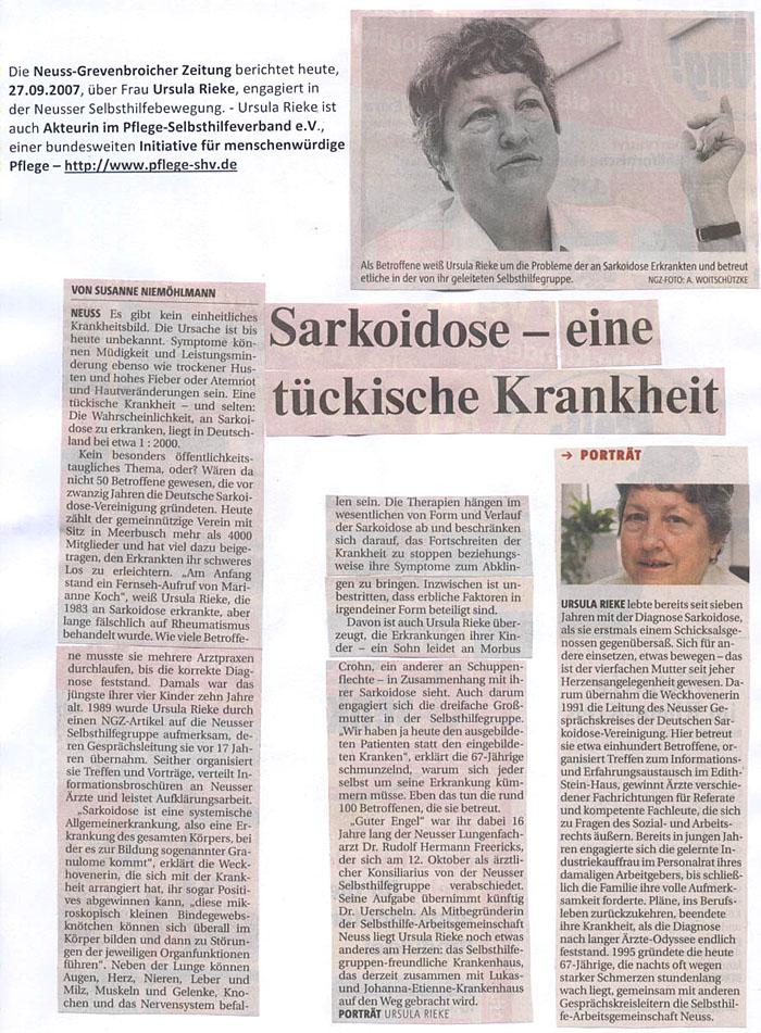 Ursula Rieke - engagierte Akteurin in der Neusser Selbsthilfebewegung